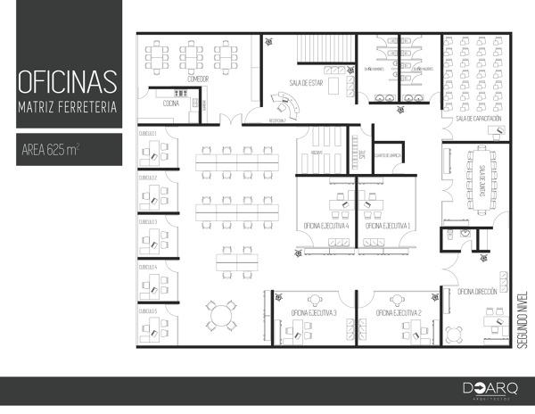 Foto plano oficinas corporativo ferretera matriz de doarq for Diseno de oficinas pequenas planos