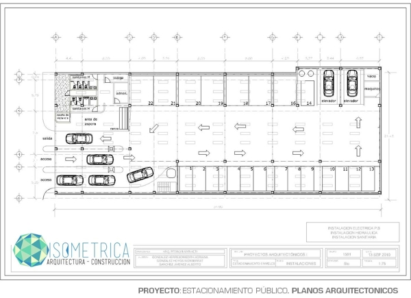 Foto plano arquitectonico estacionamiento de isometrica for Medidas de un plano arquitectonico