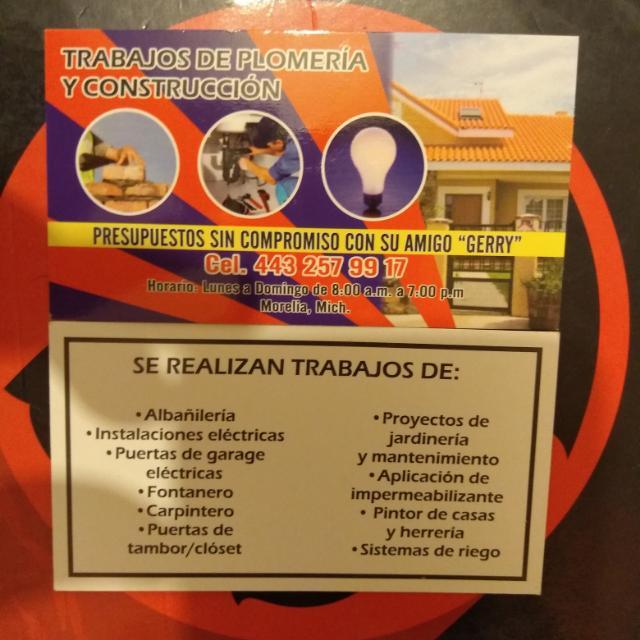 Instalaciones Electricas,plomero,pintor,albañileria,impermeabilizante,herreria,carpinteria Y Remodelaciones El Gerry.