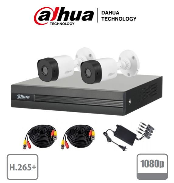 DAHUA COOPER - Kit 4 canales 2 Megapixeles/ 2 Camaras 1080p/ DVR De 4 canales H.265+ 1080p Lite/ 1 Ch IP Adicional/ IR 20 mts / IP67 /Accesorios/