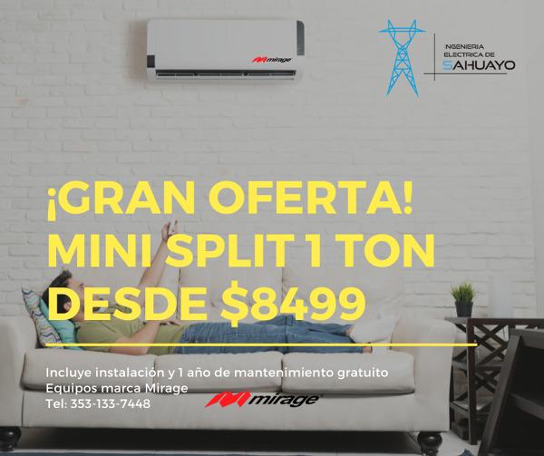 Gran oferta mini split 1 Ton desde $8499*