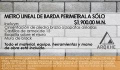 METRO LINEAL DE BARDA PERIMETRAL A SOLO $1900.00 M.N.