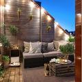 terraza con mesa de palets