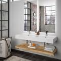Baño con puertas de vidrio e hierro y dos lavamanos
