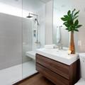 Baño con estilo con regadera y cancel fijo
