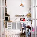 Cocina con piso hidráulico