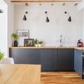 Cocina moderna con piso de madera
