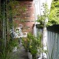 balcón con cortinas y plantas