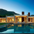 casa minimalista con pared de piedra