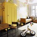 Clóset lacado de color amarillo