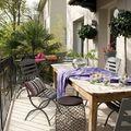 terraza con mesa de madera