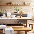 Cocina con paredes revestidas de madera