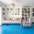 Piso pintado con pintura epóxica azul