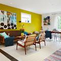 salón con pared amarilla