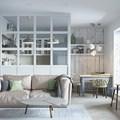 Salón, comedor y cocina, separado por muro de escayola y cristal