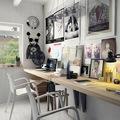 Zona de trabajo decorada con cuadros