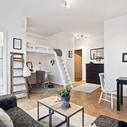 Loft estilo nórdico con piso de madera