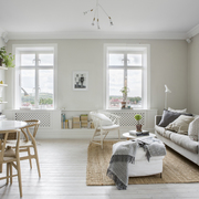 Sala muy iluminada decorada con elementos naturales