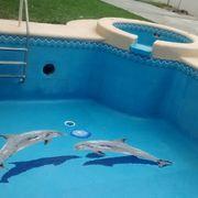 Alberca 5 x 3 con Jacuzzi y figuras de delfín