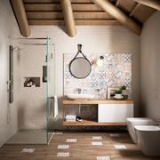 Baño con diseño de mosaicos hidráulicos