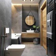 Cuarto de baño en gris y madera