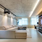 Sala con paredes y techo de microcemento