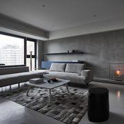 Sala con paredes y piso de microcemento