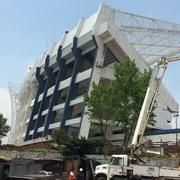 Pintura exterior estadio Cuauhtémoc en el estado de Puebla