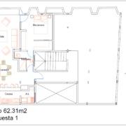 Diseño de departamento en planta 3er nivel.