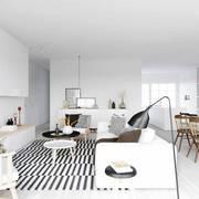 Sala estilo nórdico con decoración en blanco y negro