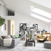 Sala estilo escandinavo con muchos libros