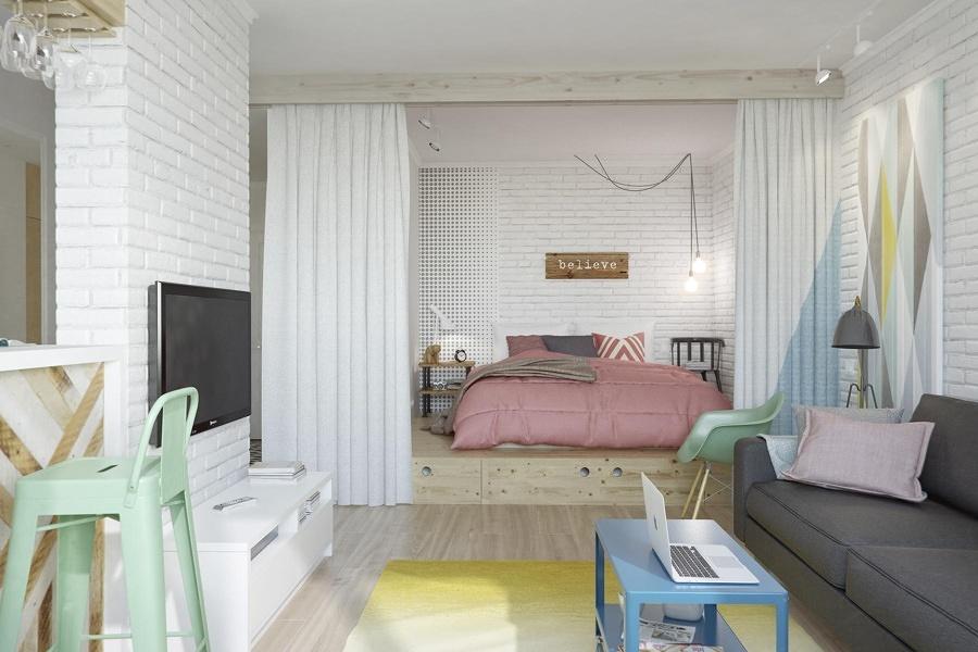 Sala unida a la recámara y separada con cortina