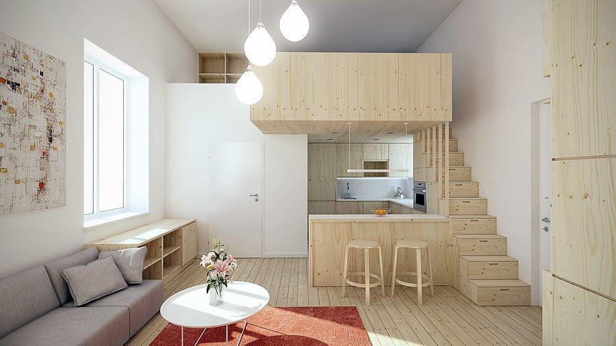 Departamento a doble altura con techo alto y escalera