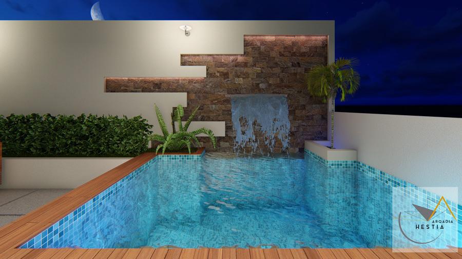 Alberca y muro de agua