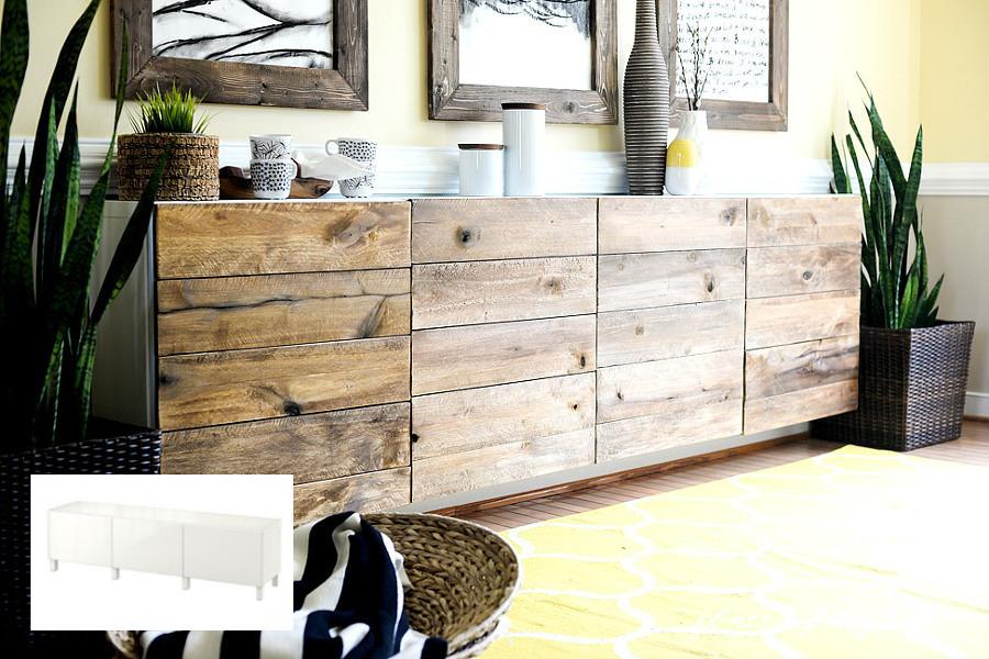 Aparador renovado con tablas de madera