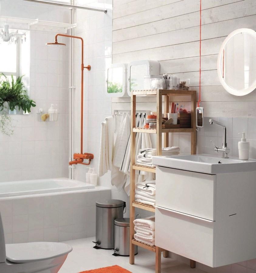 Baño estilo nórdico con gabinete blanco
