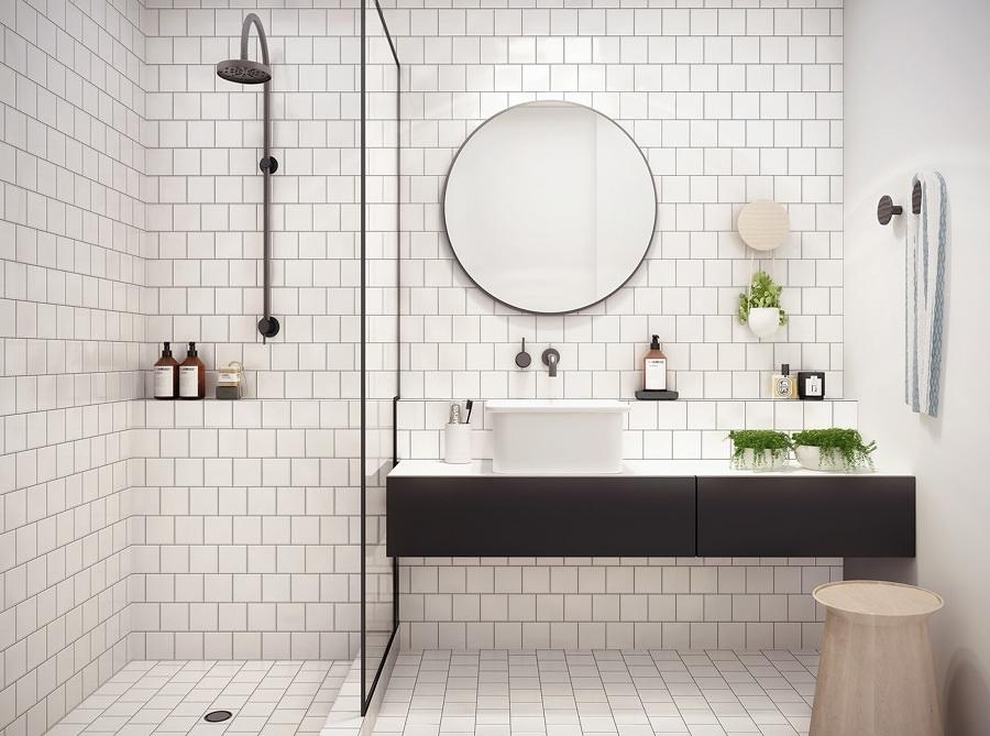 Baño blanco y negro con regadera