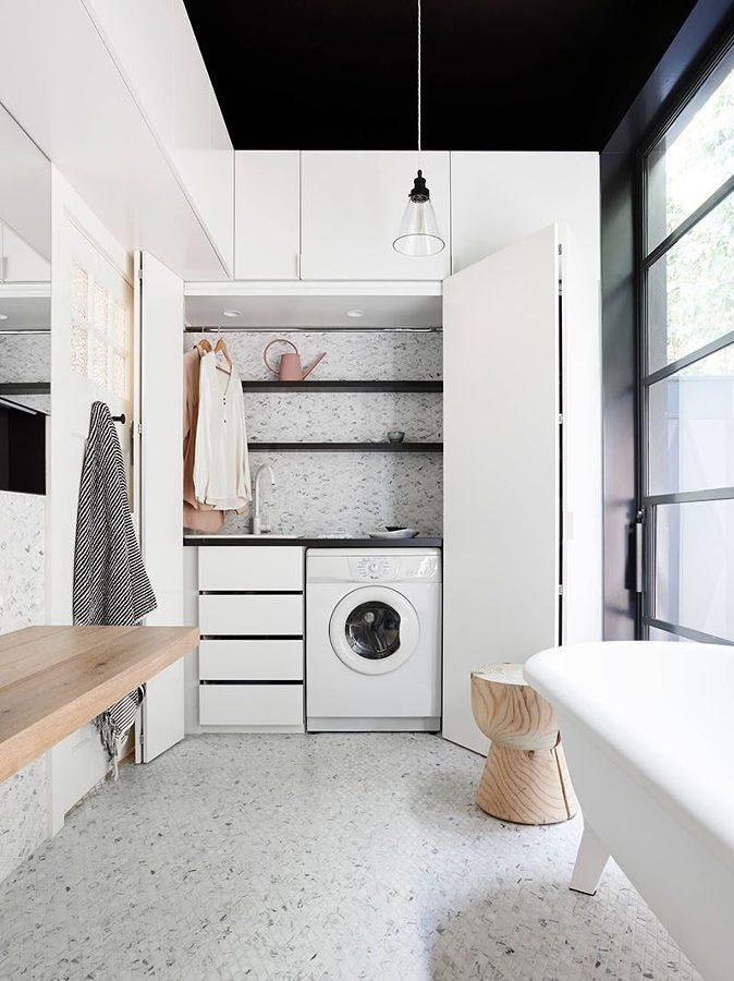 Baño con área de lavado integrada