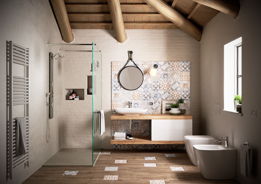 Foto ba o con dise o de mosaicos hidr ulicos 240826 for Mobile bagno rustico moderno