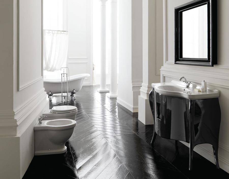 Foto ba o con mueble negro lacado 155906 habitissimo for Banos modernos negro
