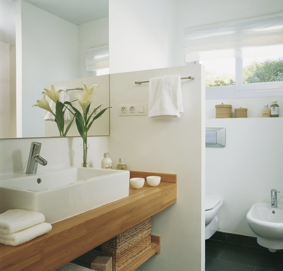 Baño con muro separador