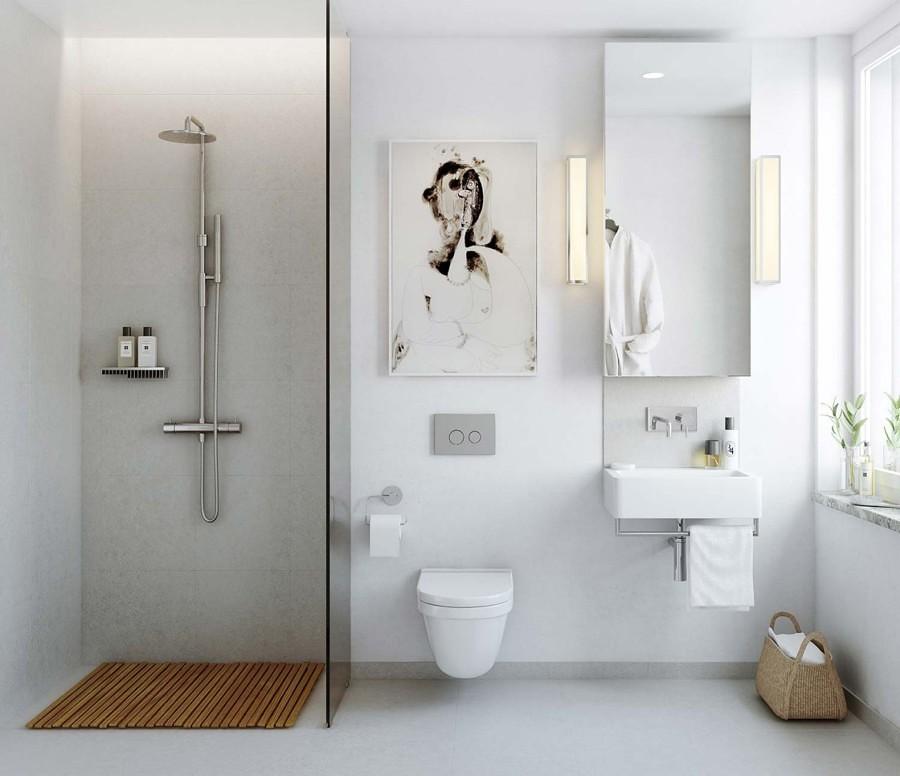 Baño con WC y lavabo suspendidos