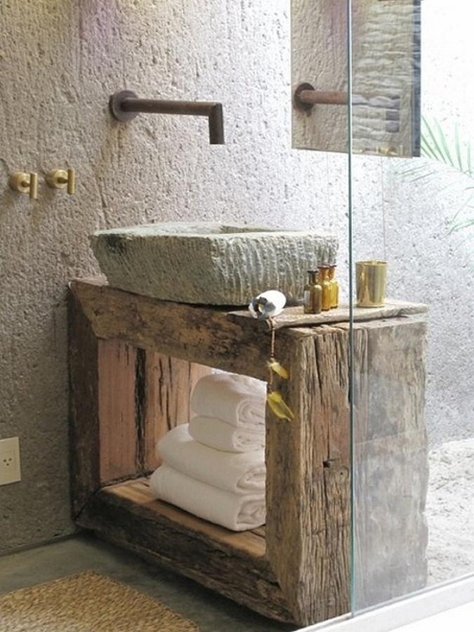 Lavabos de piedra natural para ambientes r sticos ideas - Lavamanos de piedra ...