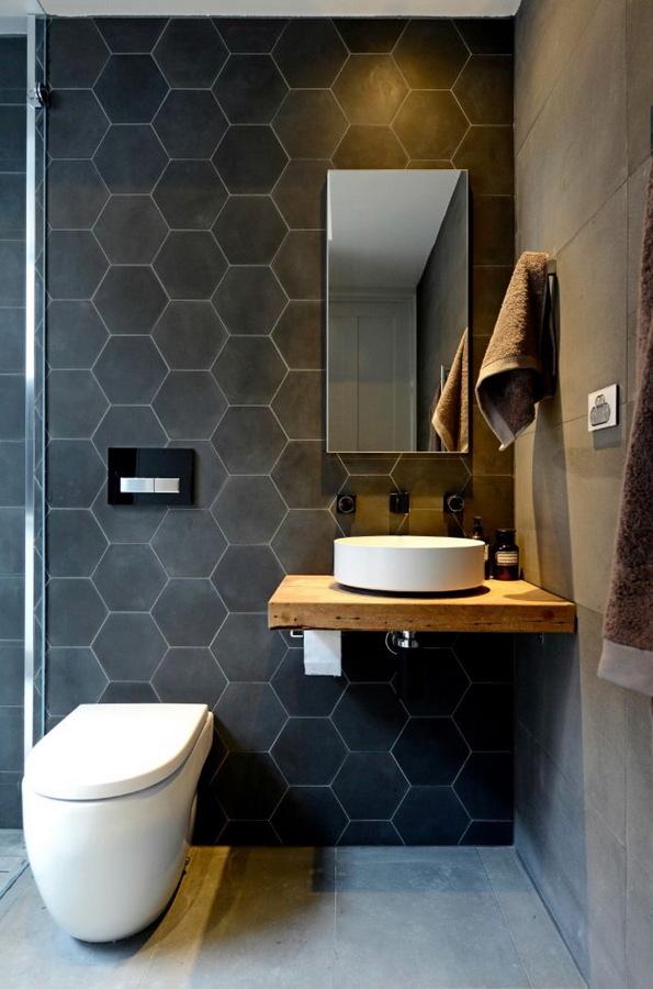 Baño moderno con llaves empotradas