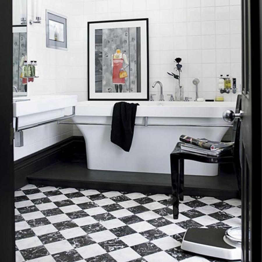 Foto ba o moderno en negro y blanco 155895 habitissimo for Banos modernos vintage