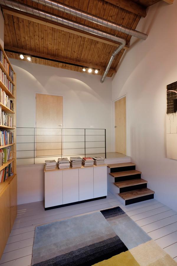 Biblioteca en casa con tapete de colores