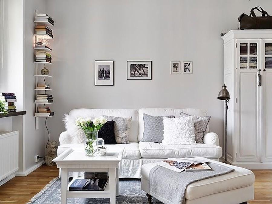 Sala con repisas, cuadros y tapete en el piso