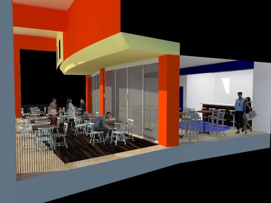 Cafetería SEDENA ( vista en corte de terraza y estancia)