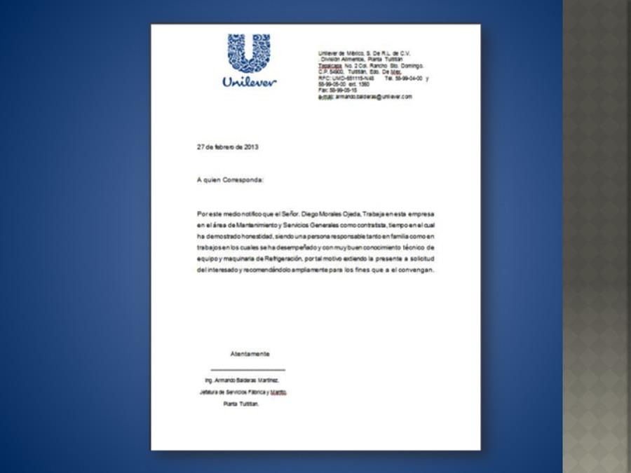 CARTA DE RECOMENDACIÓN UNILEVER TULTITLAN