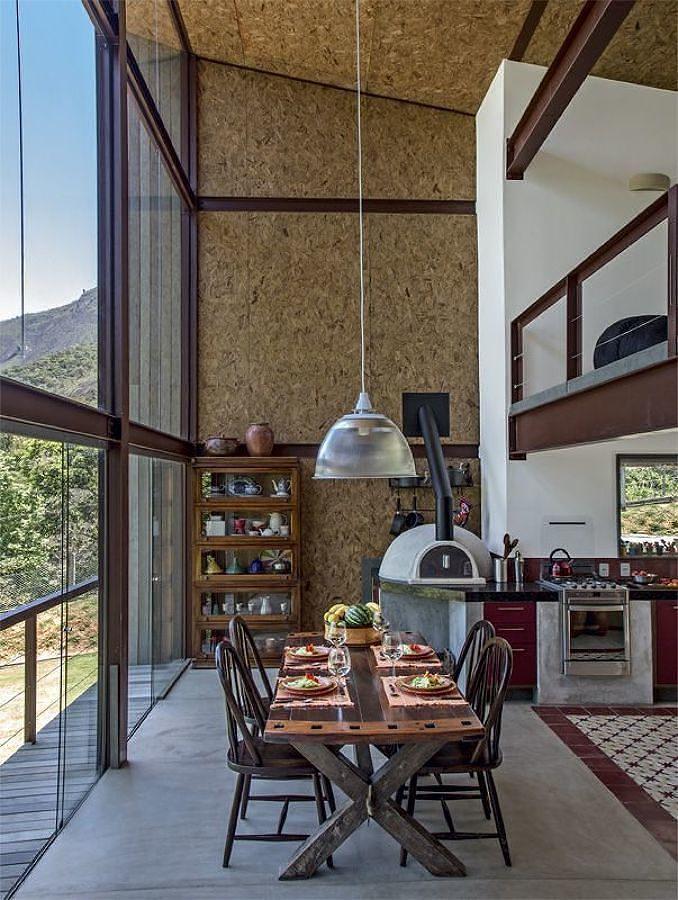 Casa steel frame revestida con madera OSB en el interior